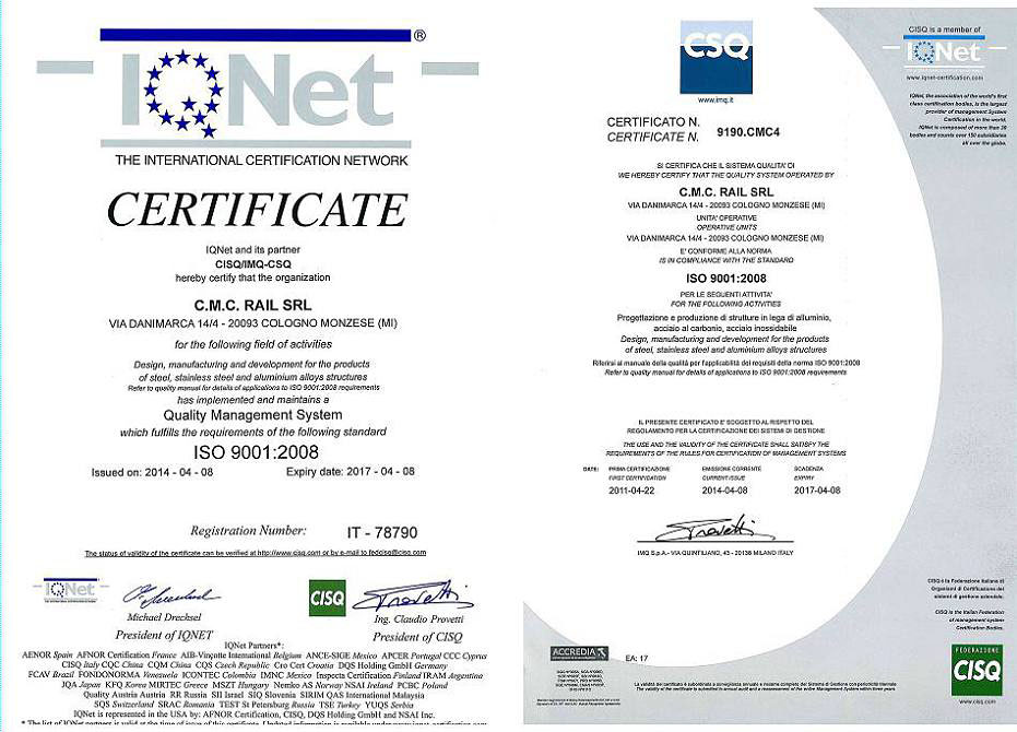 CMC Certifications: IRIS | EN15085 | EN 3834 | Steel Metal Work ...